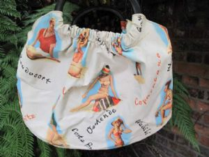 Great Vintage 1960's Vinyl ' Pin Up ' Beach Bag with scripted destinations Copacabana, Costa Brava,